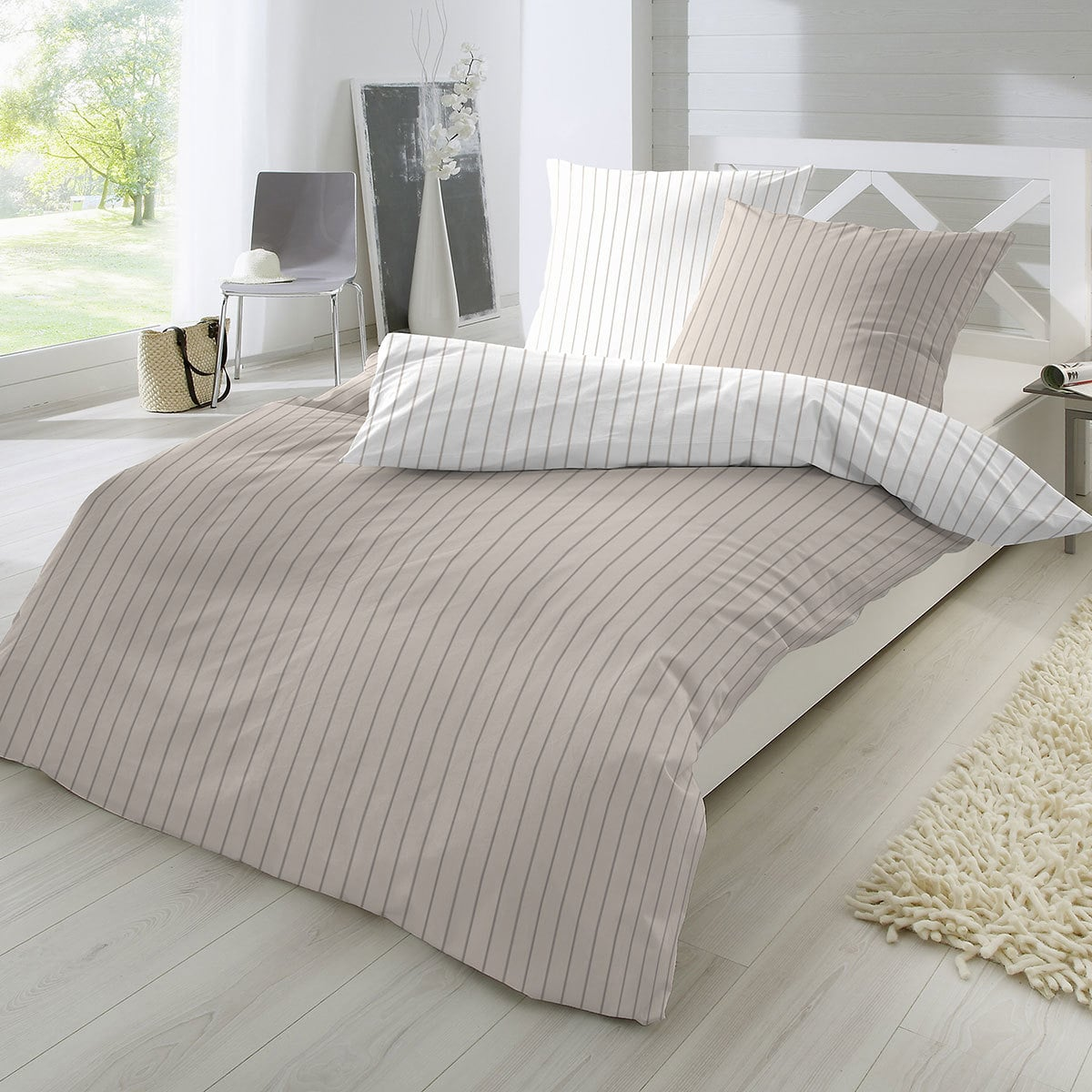 enrico coss perkal bettw sche streifen braun g nstig online kaufen bei bettwaren shop. Black Bedroom Furniture Sets. Home Design Ideas