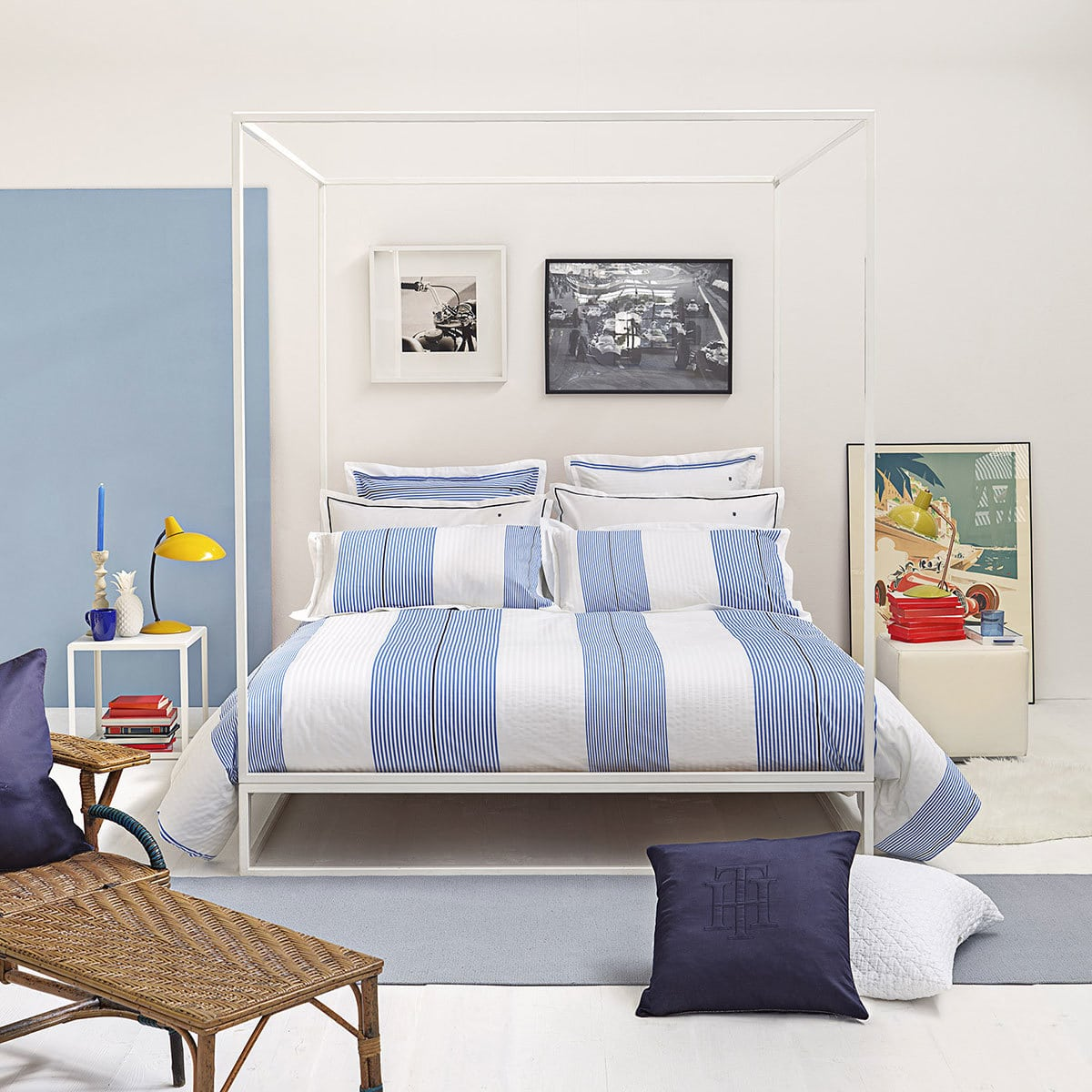 tommy hilfiger perkal bettw sche wei und blau gestreift g nstig online kaufen bei bettwaren shop. Black Bedroom Furniture Sets. Home Design Ideas