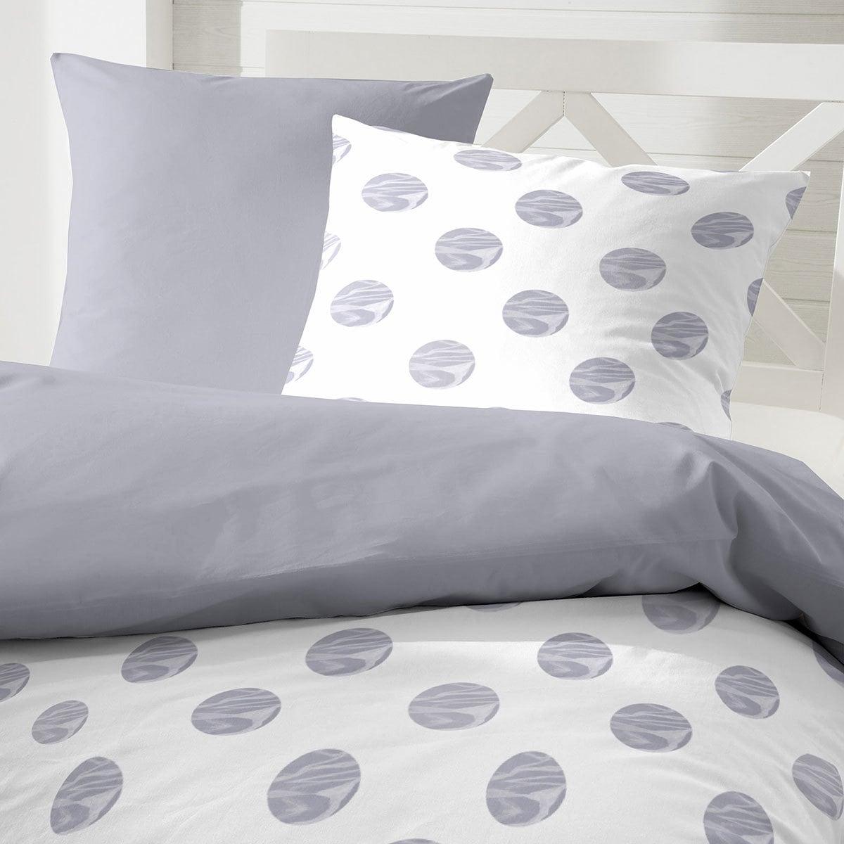 enrico coss premium seersucker bettw sche punkte grau. Black Bedroom Furniture Sets. Home Design Ideas