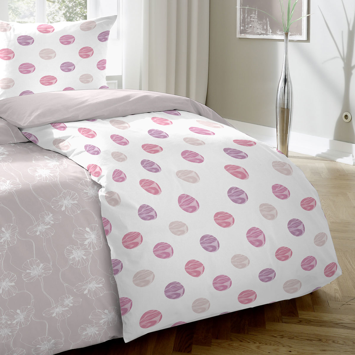 enrico coss premium seersucker bettw sche punkte pink. Black Bedroom Furniture Sets. Home Design Ideas