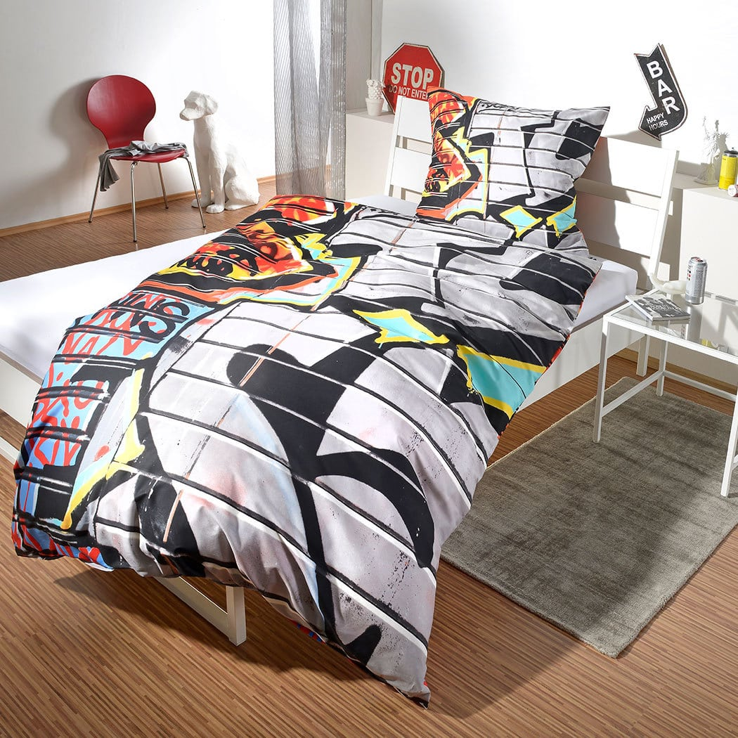 bettwarenshop renforc bettw sche graffiti g nstig online kaufen bei bettwaren shop. Black Bedroom Furniture Sets. Home Design Ideas