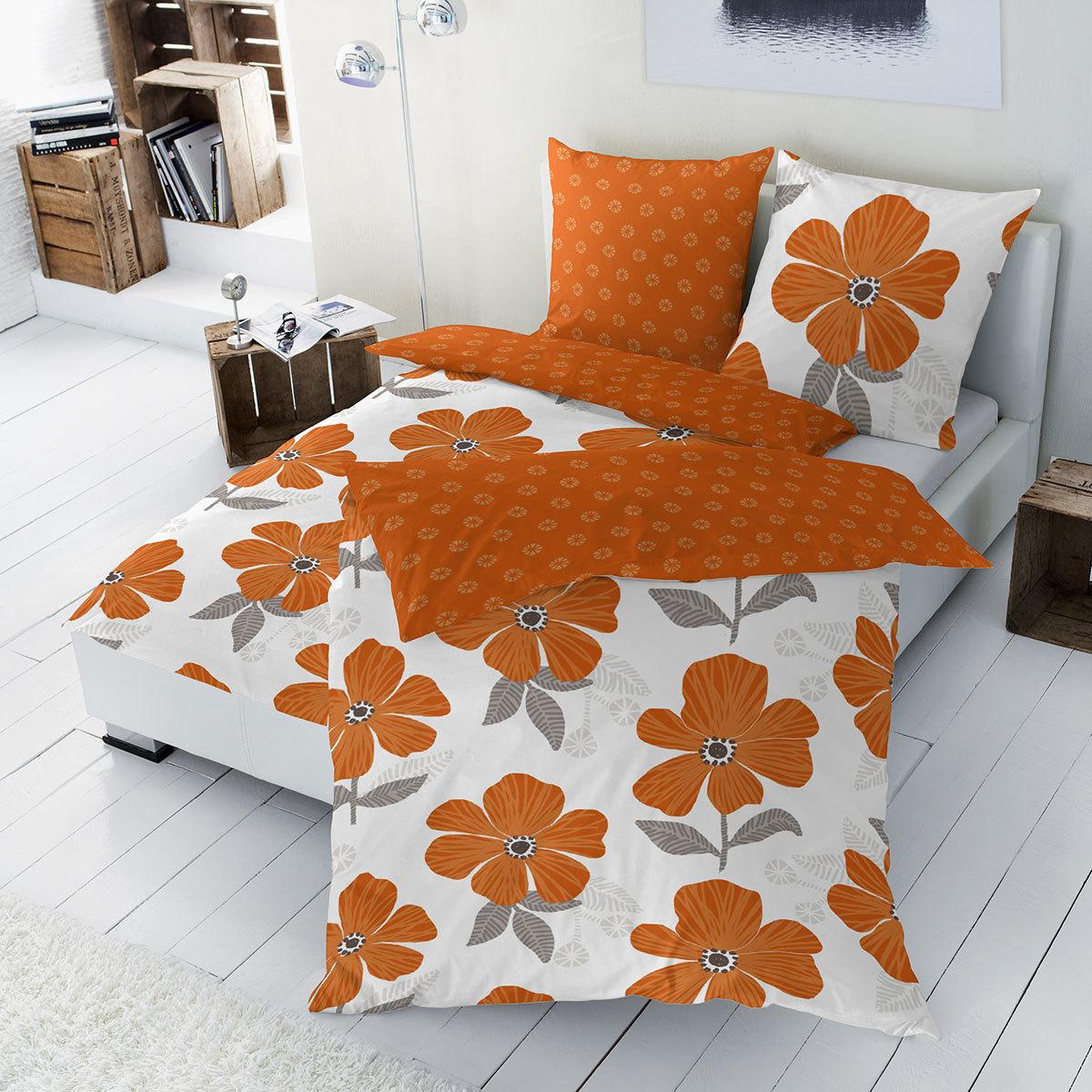 hahn renforc wendebettw sche blumen orange g nstig online kaufen bei bettwaren shop. Black Bedroom Furniture Sets. Home Design Ideas
