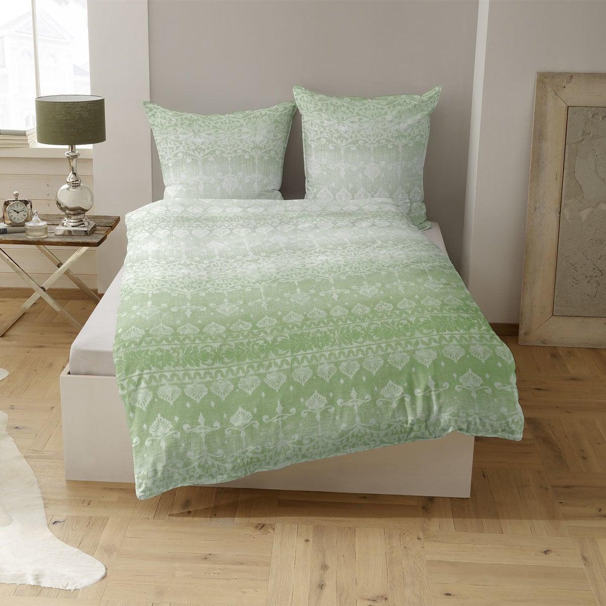 Traumschlaf Satin Bettwäsche Orina grün