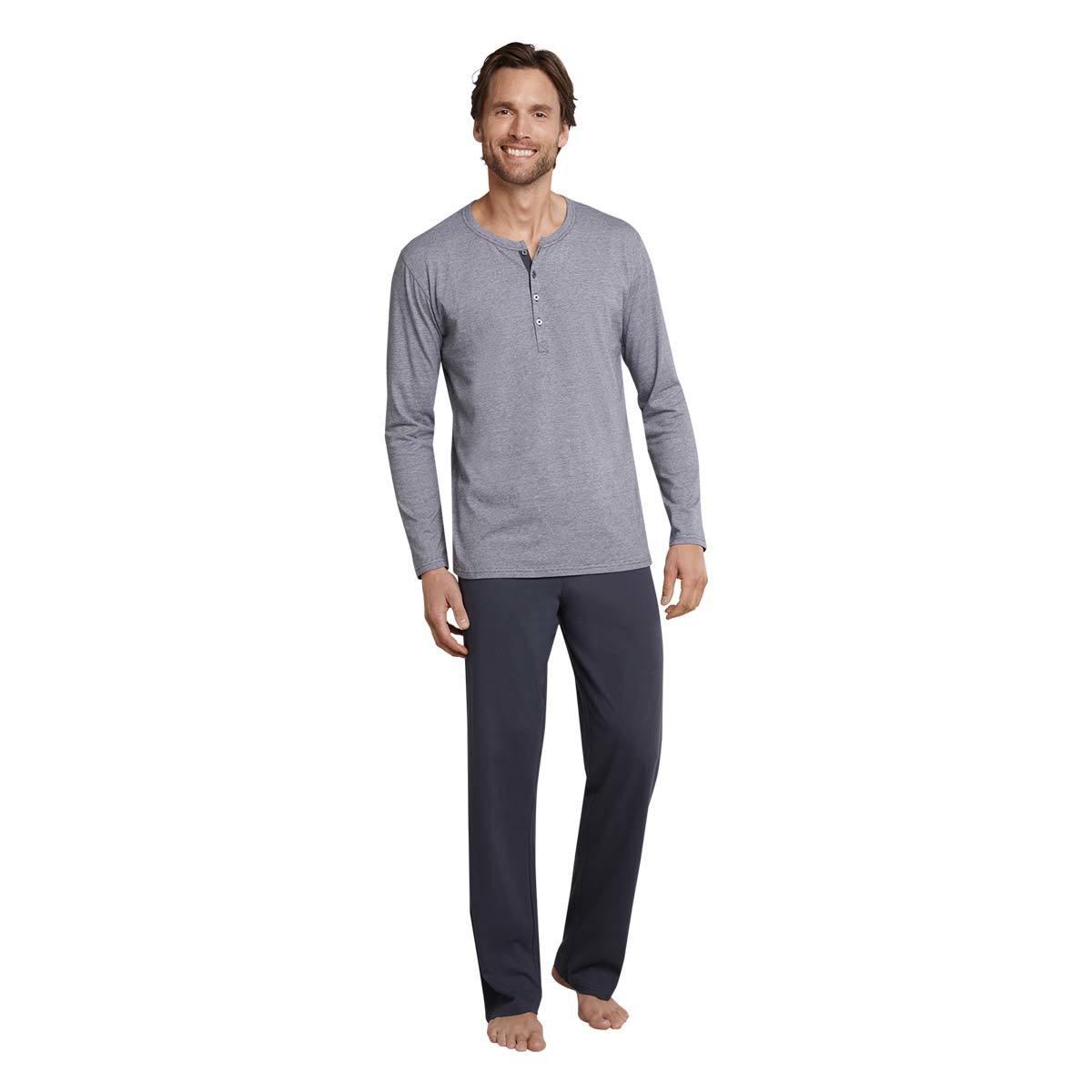Schiesser Schlafanzug Herren Pyjama lang anthrazit
