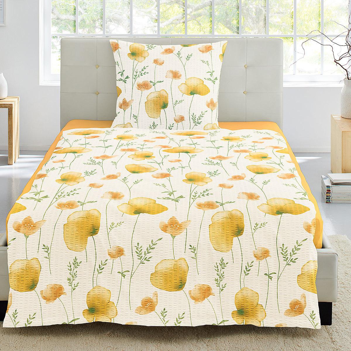 Irisette Seersucker Bettwäsche Blumen Gelb Günstig Online Kaufen Bei