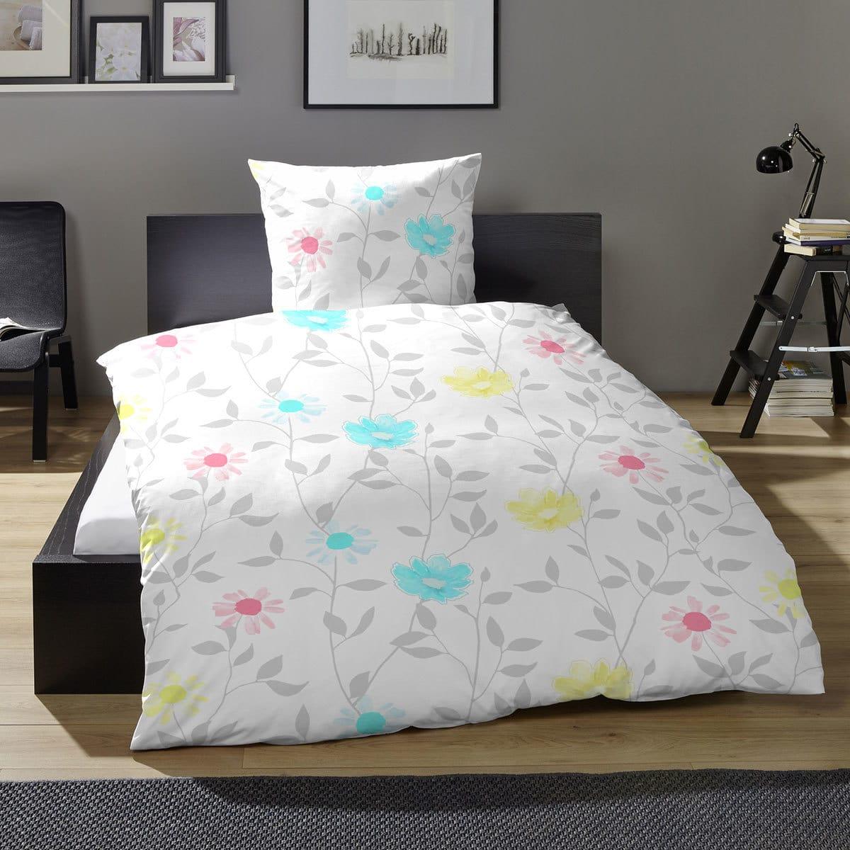hahn seersucker bettw sche blumenranke t rkis g nstig online kaufen bei bettwaren shop. Black Bedroom Furniture Sets. Home Design Ideas