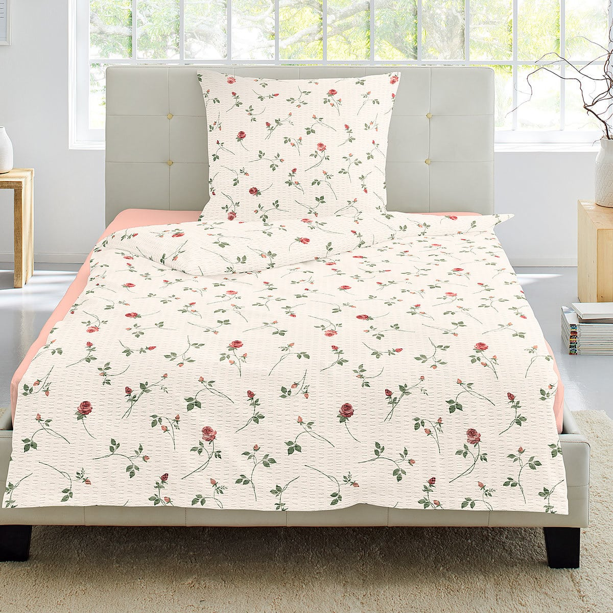 irisette seersucker bettw sche flower rot g nstig online. Black Bedroom Furniture Sets. Home Design Ideas