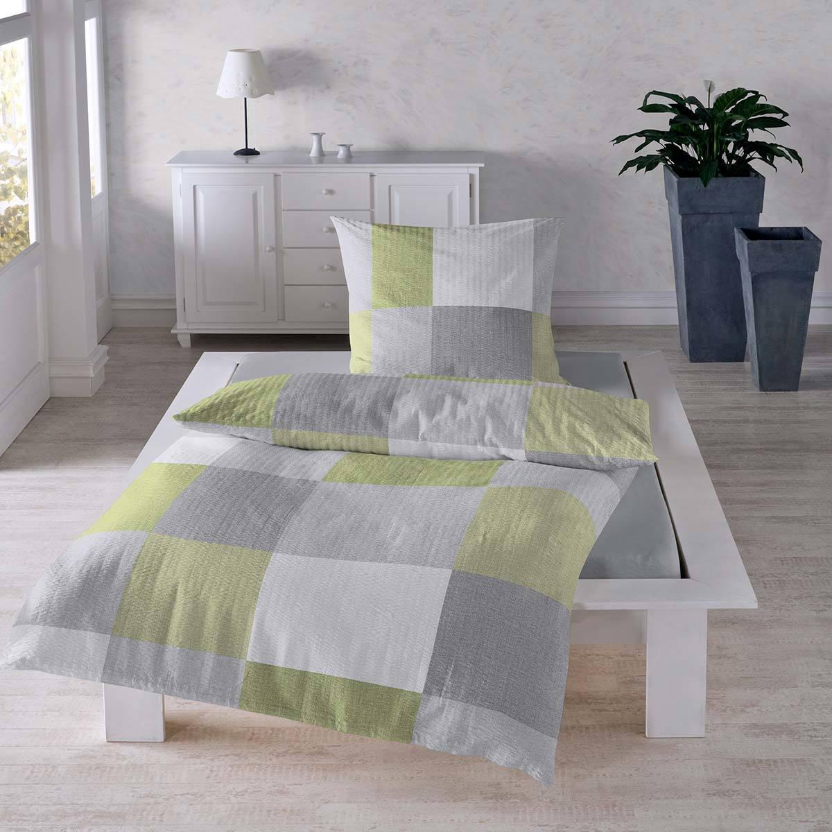 traumschlaf seersucker bettw sche karo g nstig online kaufen bei bettwaren shop. Black Bedroom Furniture Sets. Home Design Ideas