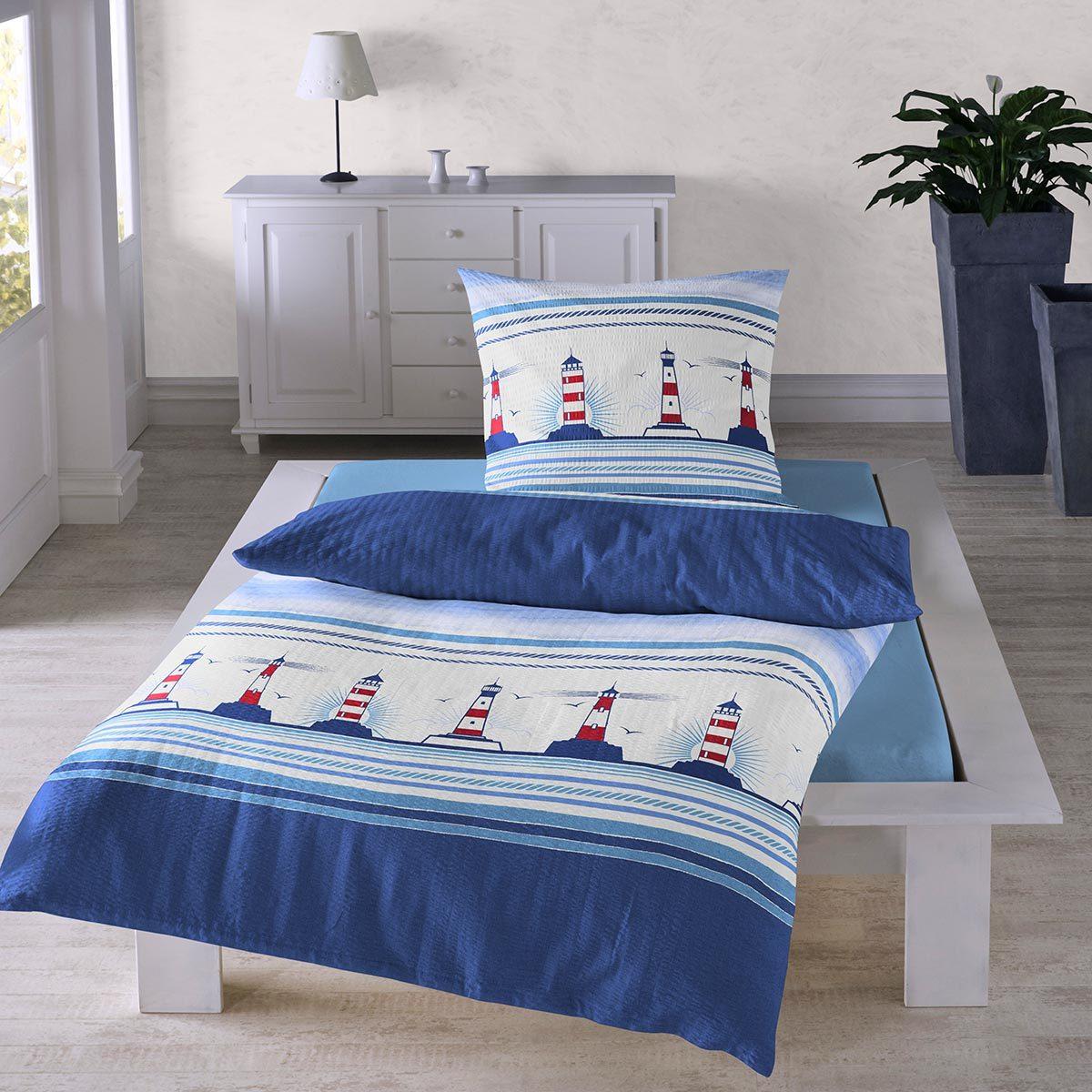traumschlaf seersucker bettw sche leuchtturm g nstig online kaufen bei bettwaren shop. Black Bedroom Furniture Sets. Home Design Ideas