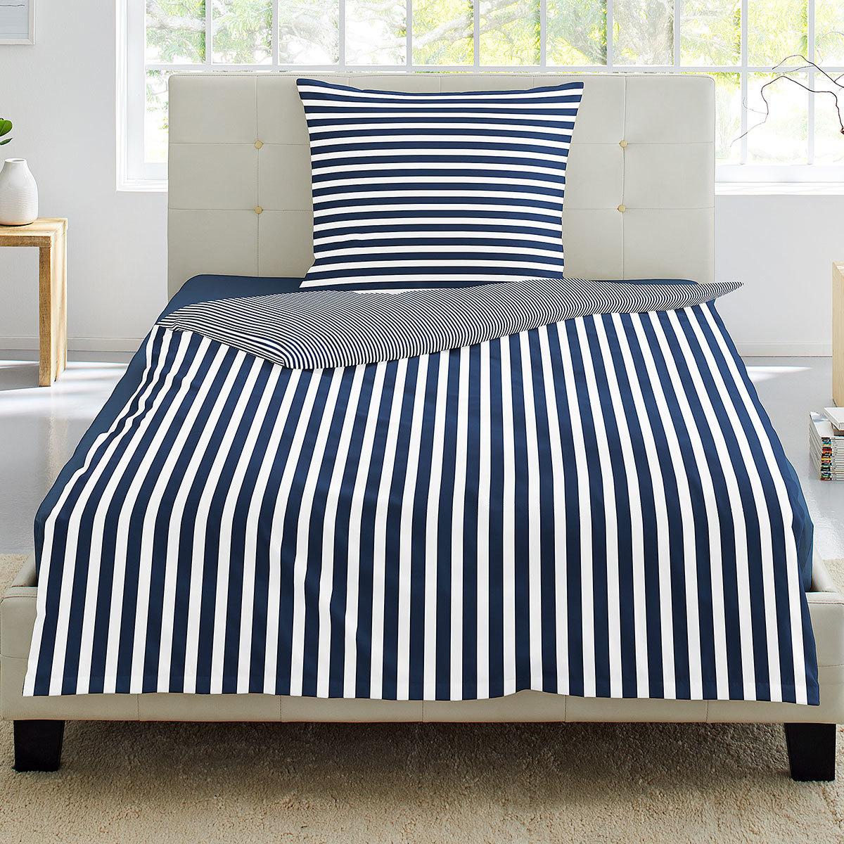 Irisette Seersucker Bettwäsche Streifen Blau Günstig Online Kaufen