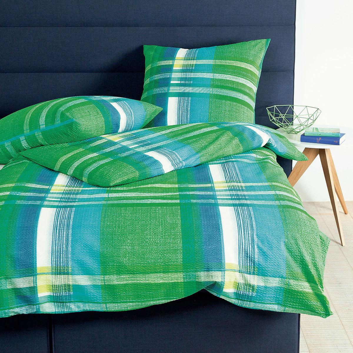 janine seersucker bettw sche tango 20018 06 gr n g nstig online kaufen bei bettwaren shop. Black Bedroom Furniture Sets. Home Design Ideas