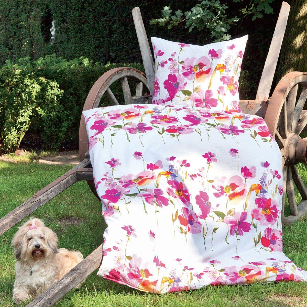 janine seersucker bettw sche tango 20033 01 rosarot g nstig online kaufen bei bettwaren shop. Black Bedroom Furniture Sets. Home Design Ideas