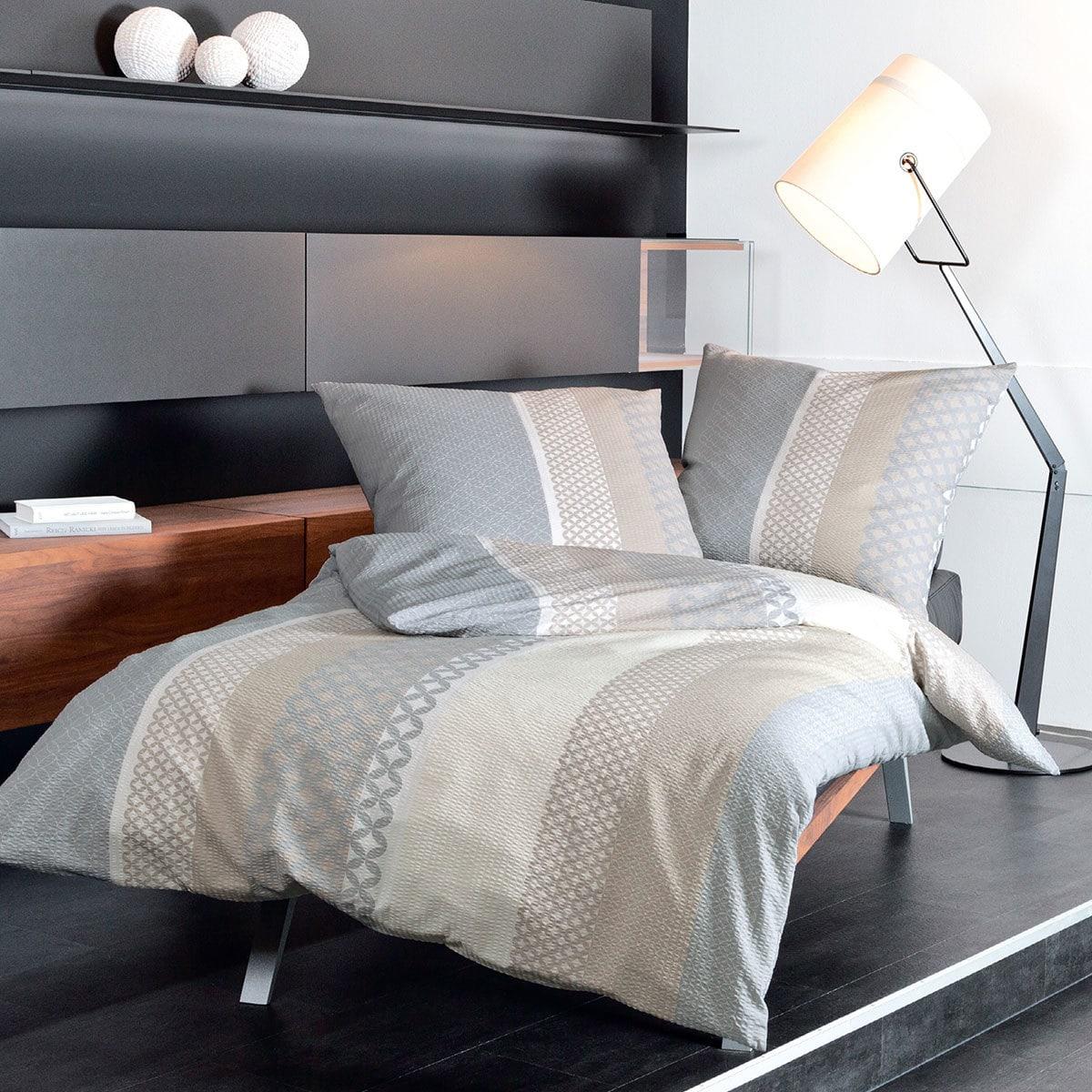 janine seersucker bettw sche tango 20043 07 sand silber g nstig online kaufen bei bettwaren shop. Black Bedroom Furniture Sets. Home Design Ideas