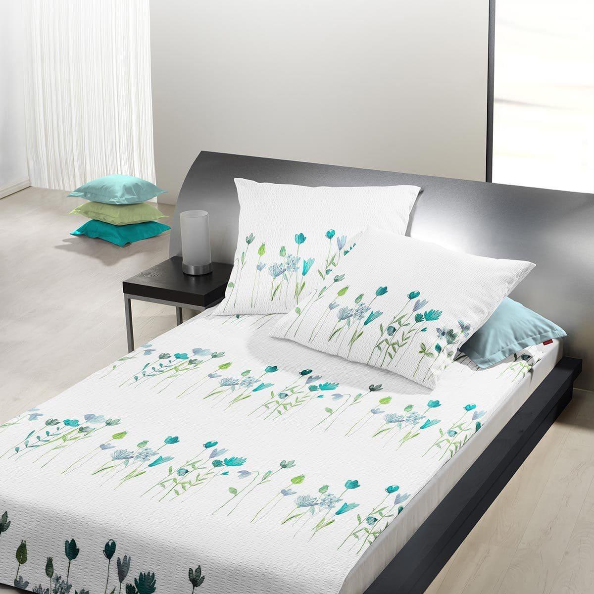 Traumschlaf Seersucker Bettwäsche Tulpe blau