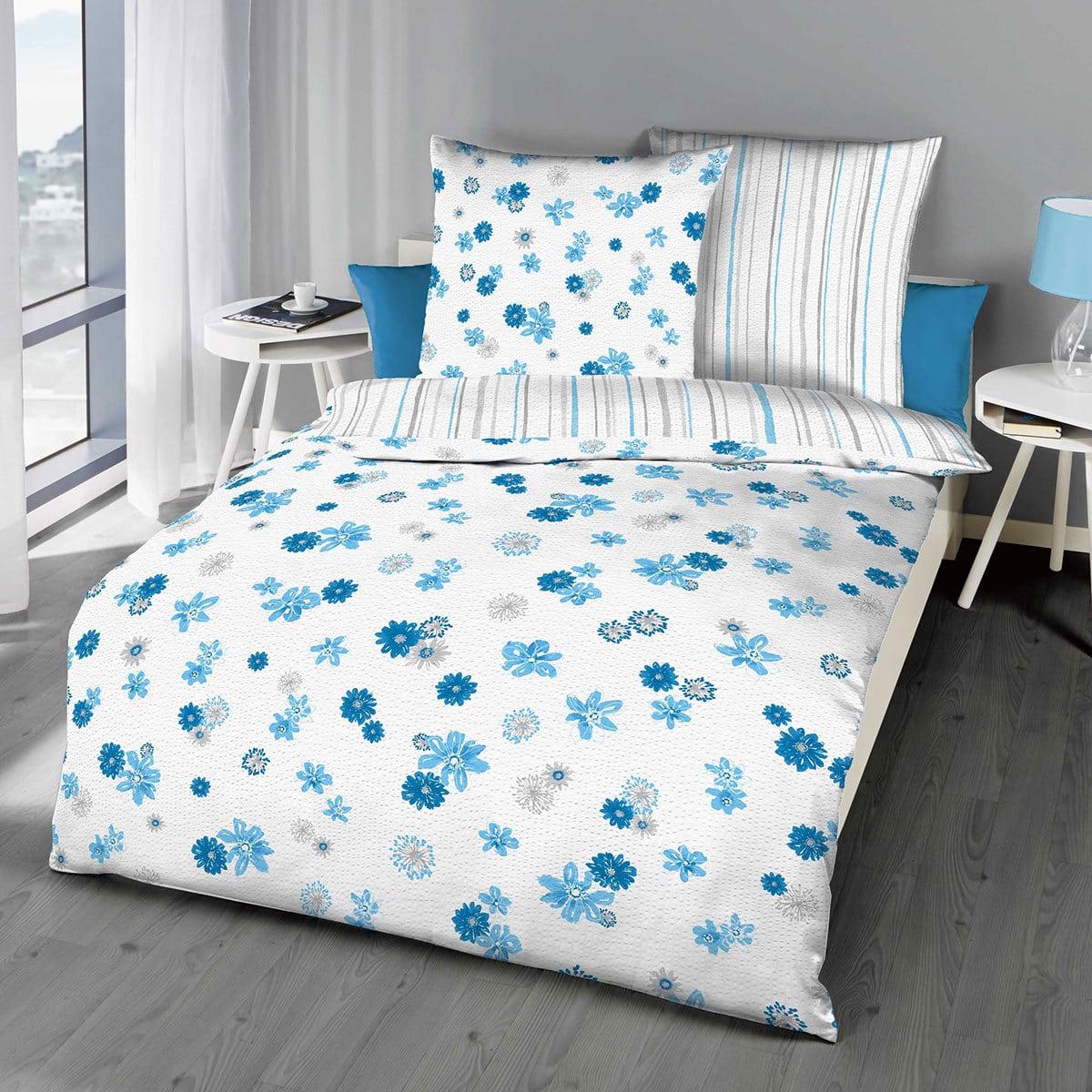 kaeppel seersucker wendebettw sche mia aqua g nstig online. Black Bedroom Furniture Sets. Home Design Ideas