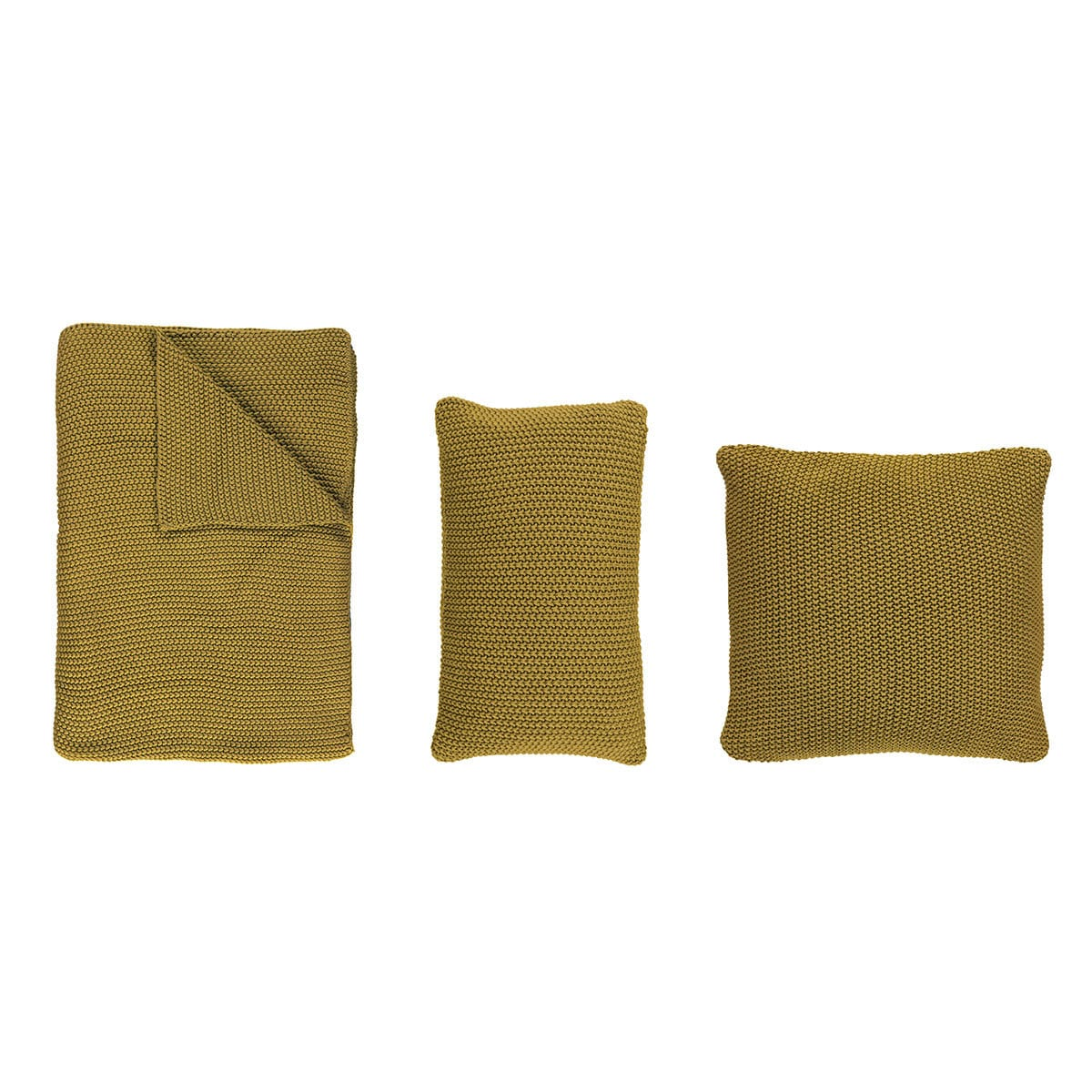 Marc O Polo Strick Dekokissen Plaid Nordic Knit oil yellow