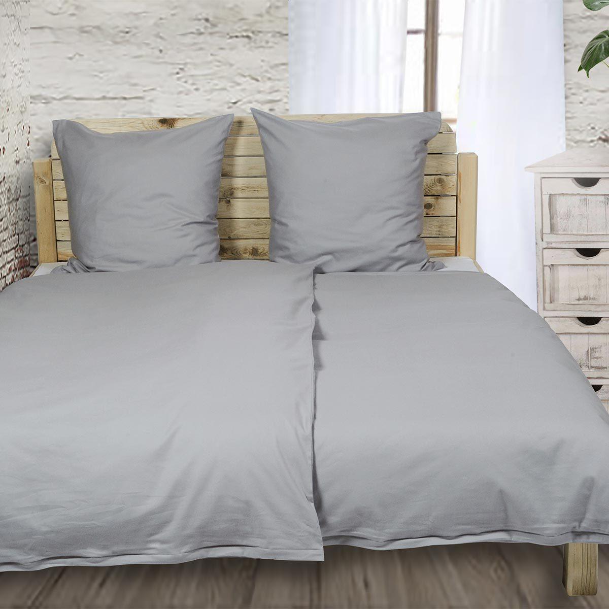Bettwarenshop Uni Feinflanell Bettwäsche Grau Günstig Online Kaufen