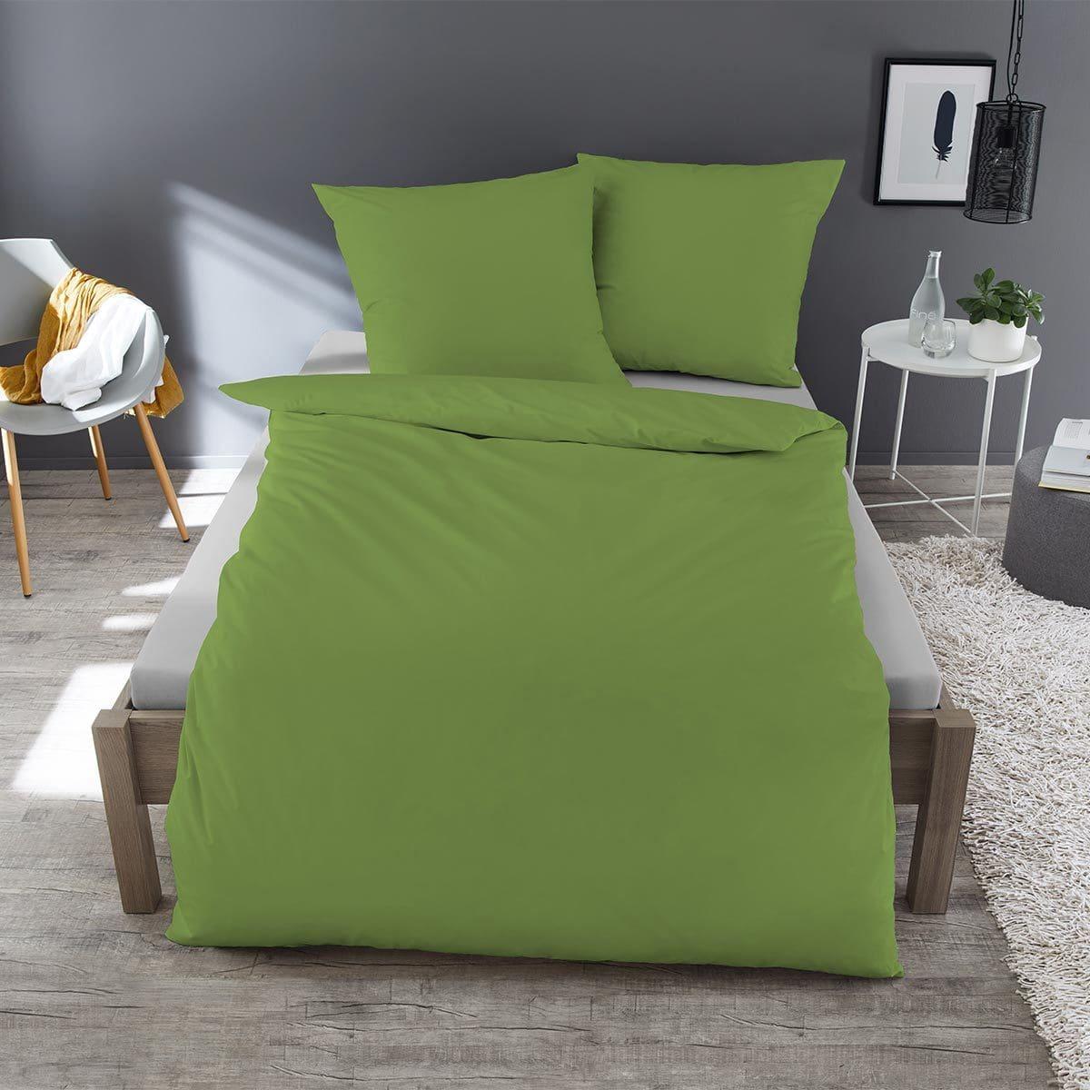 Traumschlaf Uni Mako Satin Bettwäsche Grün Günstig Online Kaufen Bei