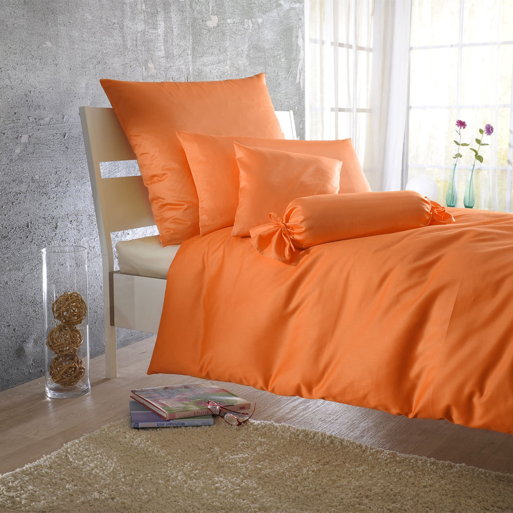 bettwarenshop uni mako satin bettw sche orange g nstig online kaufen bei bettwaren shop. Black Bedroom Furniture Sets. Home Design Ideas