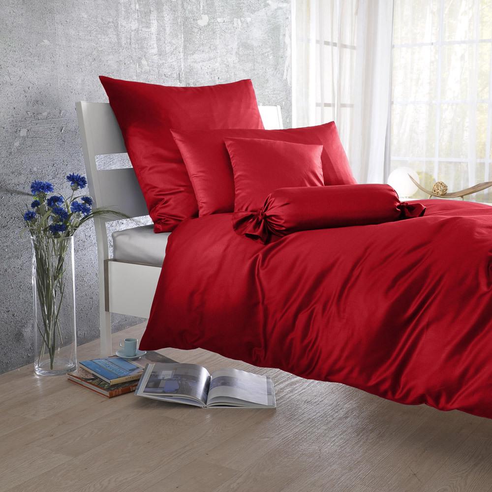 Bettwarenshop Uni Mako Satin Bettwäsche Rot Günstig Online Kaufen