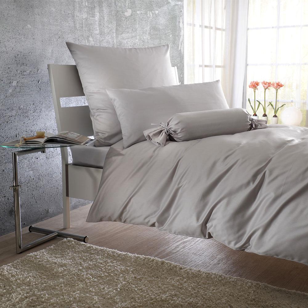 Bettwarenshop Uni Mako Satin Bettwäsche Silber Günstig Online Kaufen