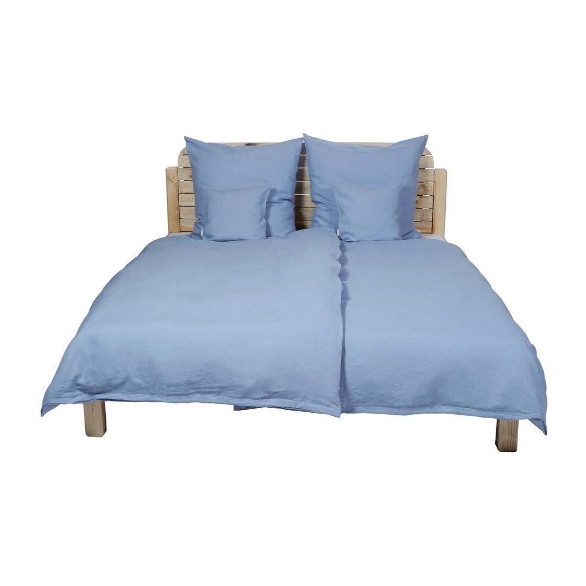 BettwarenShop Uni Reinleinen Bettwäsche blau