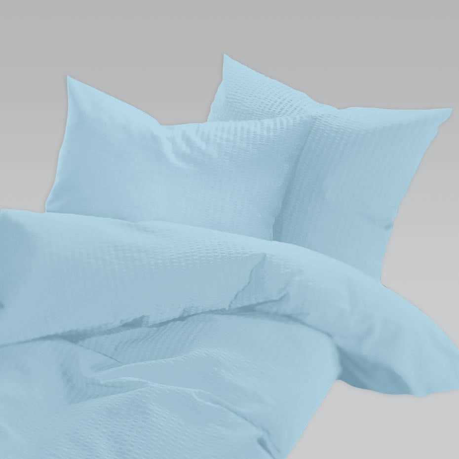 Schlafgut Uni Seersucker Bettwäsche Bügelfrei Aqua Günstig Online