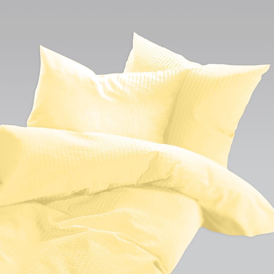 Schlafgut Uni Seersucker Bettwäsche bügelfrei zitrone