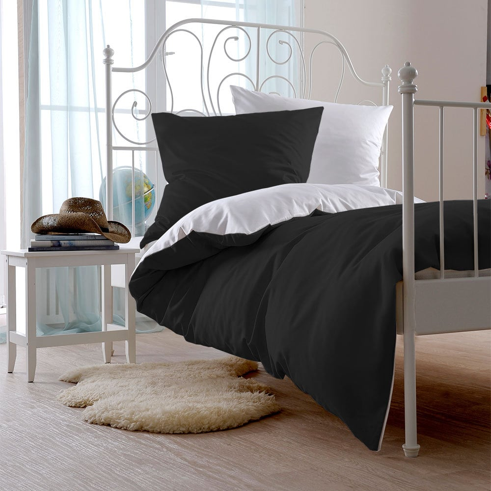 bettwarenshop uni wendebettw sche schwarz wei g nstig online kaufen bei bettwaren shop. Black Bedroom Furniture Sets. Home Design Ideas