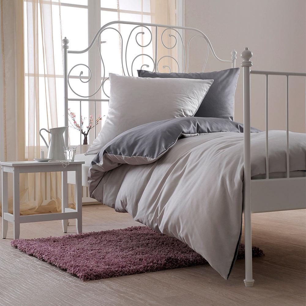 bettwarenshop uni wendebettw sche silber graphit g nstig. Black Bedroom Furniture Sets. Home Design Ideas