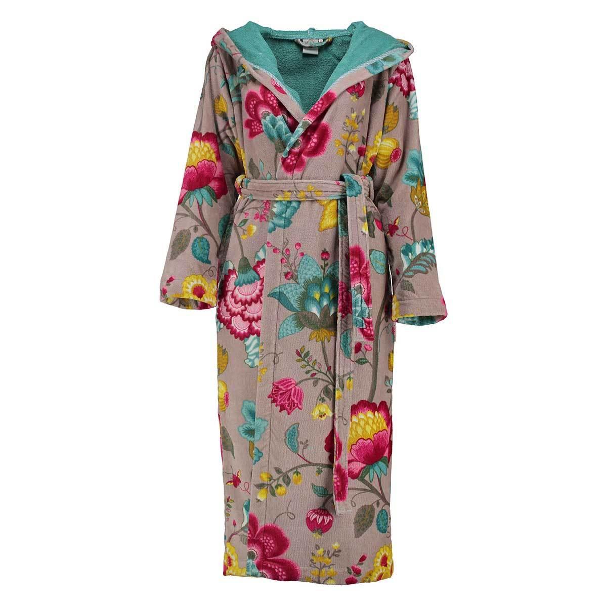 bea4ecd1b0845c PiP Studio Velours Bademantel Floral Fantasy khaki günstig online kaufen  bei Bettwaren Shop