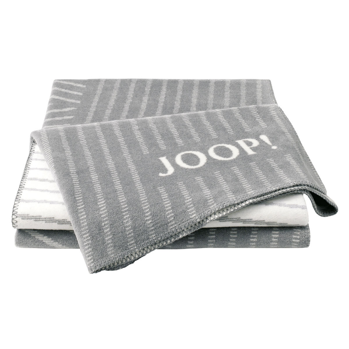 JOOP Wohndecke Cross Stripes Graphit-Ecru