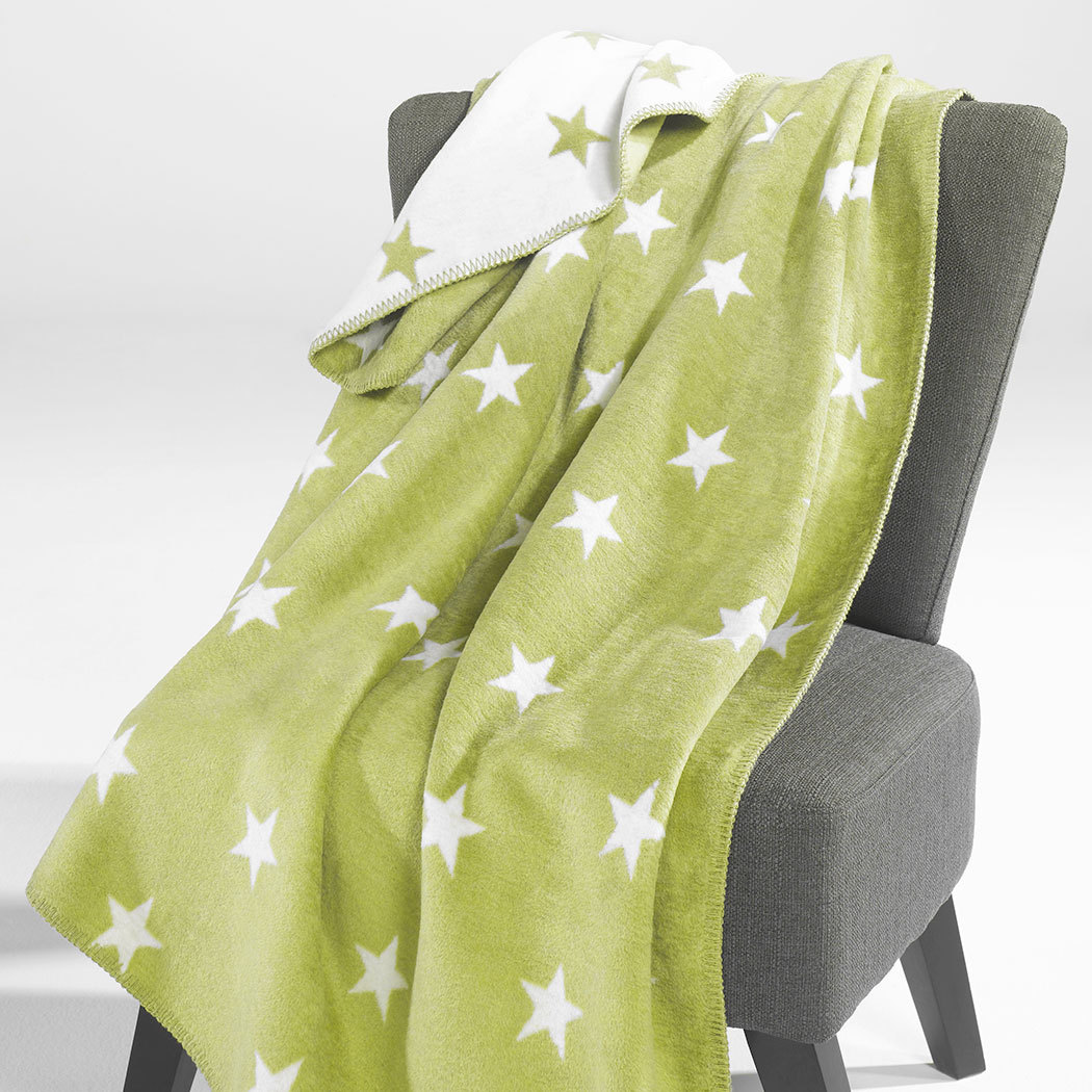 BettwarenShop Wohndecke Stars grün