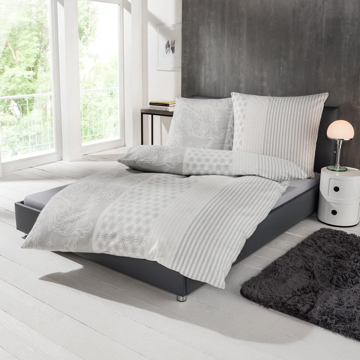 ibena zeitgeist flanell bettw sche schneeflocken grau g nstig online kaufen bei bettwaren shop. Black Bedroom Furniture Sets. Home Design Ideas