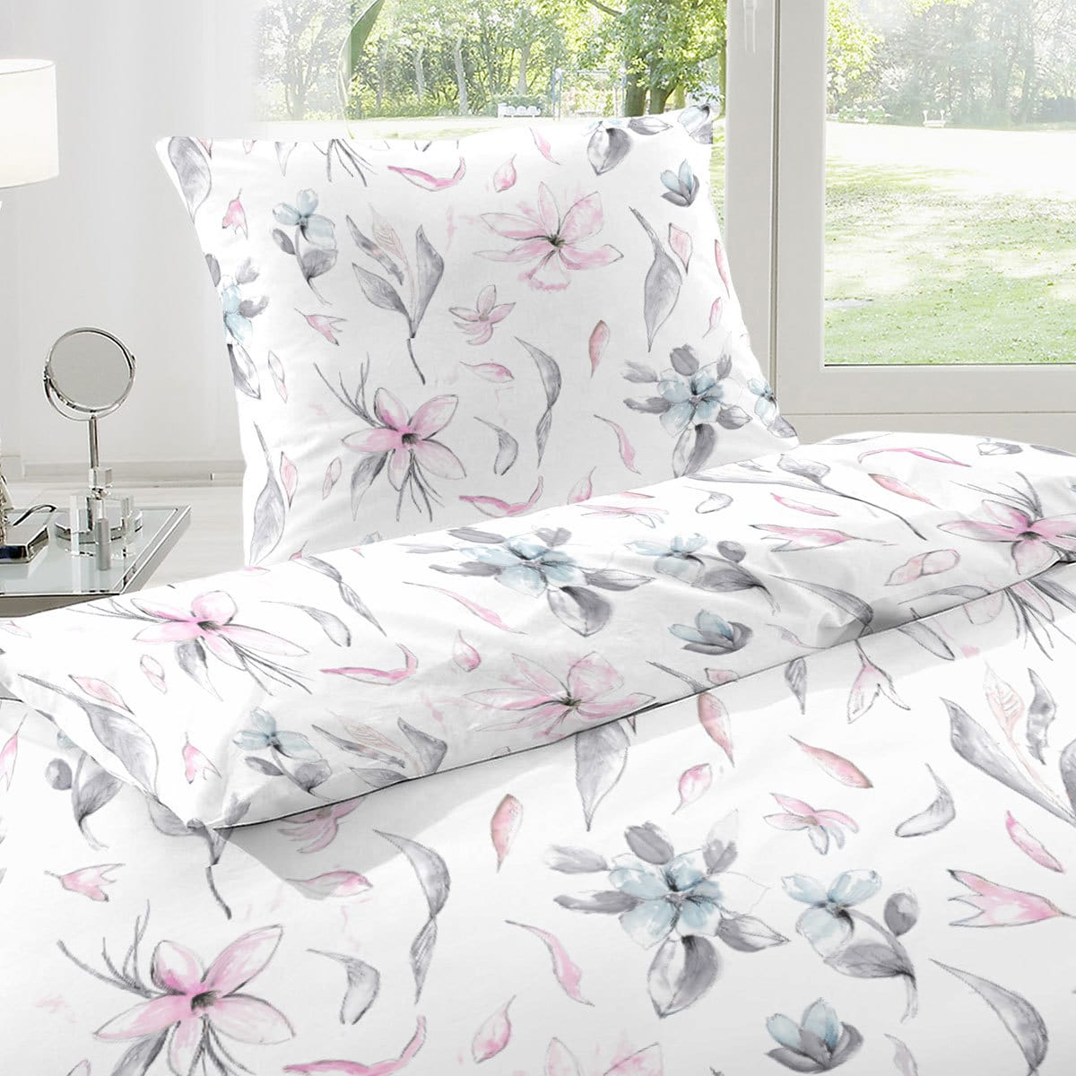enrico coss baumwoll seersucker bettw sche flowers lila g nstig online kaufen bei bettwaren shop. Black Bedroom Furniture Sets. Home Design Ideas