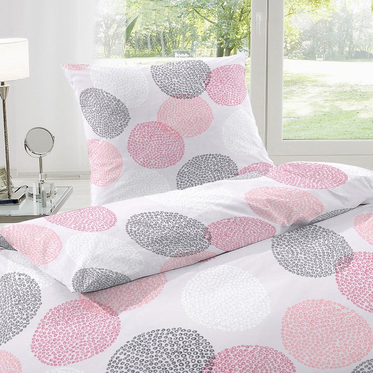 enrico coss baumwoll seersucker bettw sche punkte pink g nstig online kaufen bei bettwaren shop. Black Bedroom Furniture Sets. Home Design Ideas