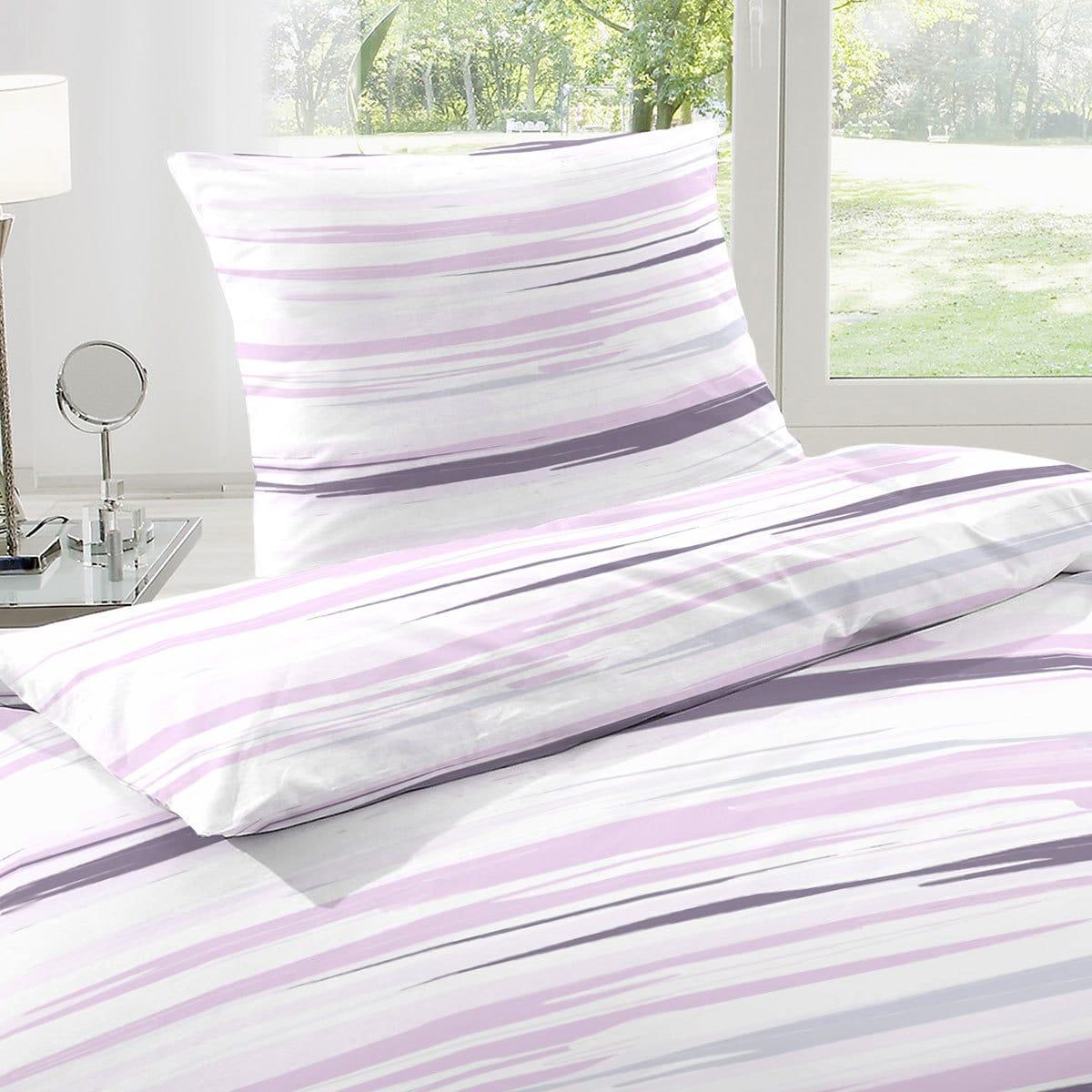 enrico coss baumwoll seersucker bettw sche streifen lila g nstig online kaufen bei bettwaren shop. Black Bedroom Furniture Sets. Home Design Ideas
