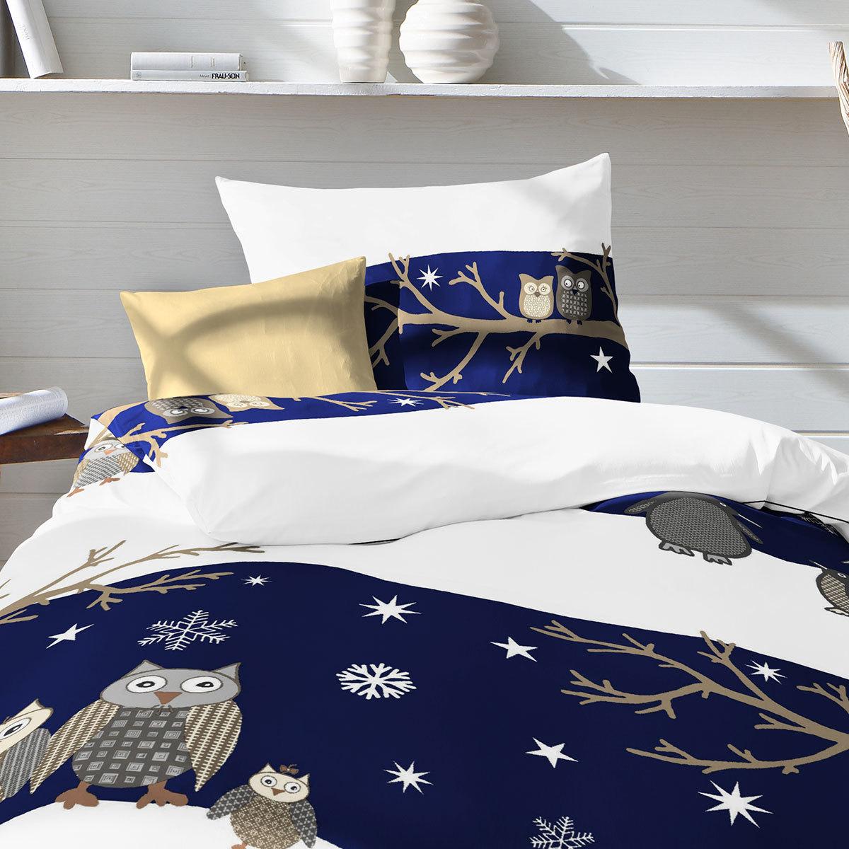 fleuresse biber bettw sche davos eulen blau g nstig online kaufen bei bettwaren shop. Black Bedroom Furniture Sets. Home Design Ideas