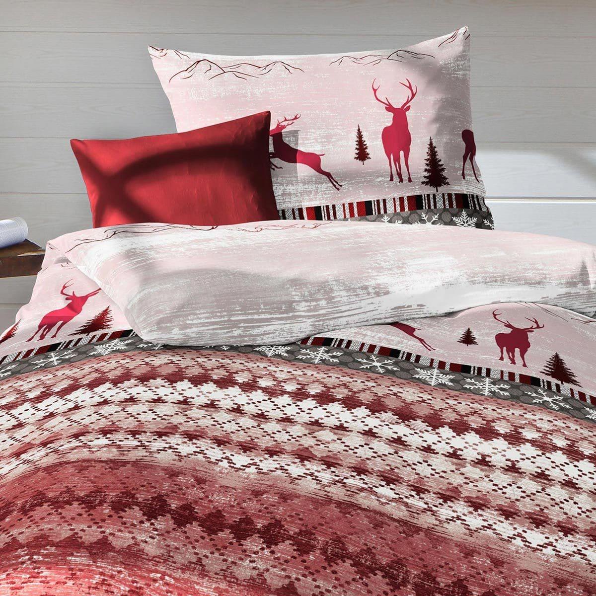 traumschlaf biber bettw sche davos hirsche und tannen g nstig online kaufen bei bettwaren shop. Black Bedroom Furniture Sets. Home Design Ideas