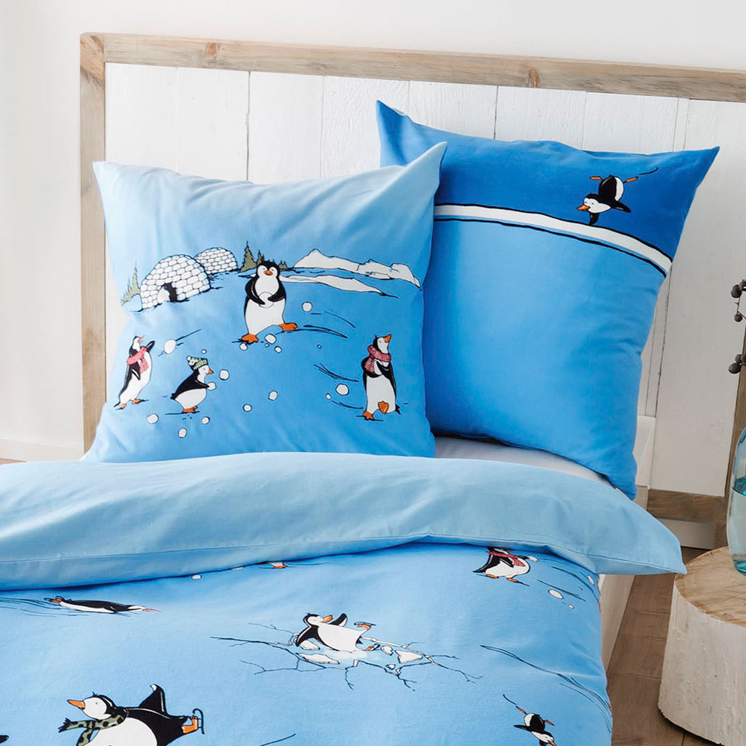 kaeppel biber bettw sche pinguine blau g nstig online kaufen bei bettwaren shop. Black Bedroom Furniture Sets. Home Design Ideas