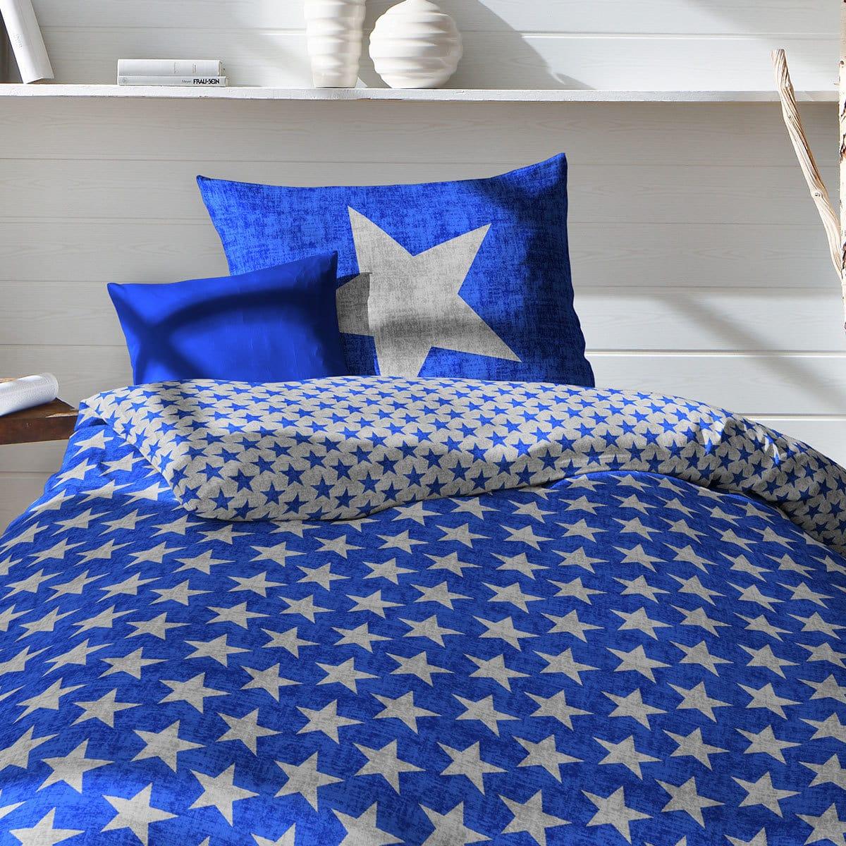 fleuresse biber bettw sche sterne blau g nstig online kaufen bei bettwaren shop. Black Bedroom Furniture Sets. Home Design Ideas