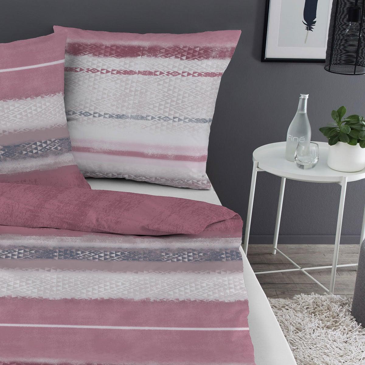 dormisette feinbiber bettw sche montreal rot grau g nstig online kaufen bei bettwaren shop. Black Bedroom Furniture Sets. Home Design Ideas