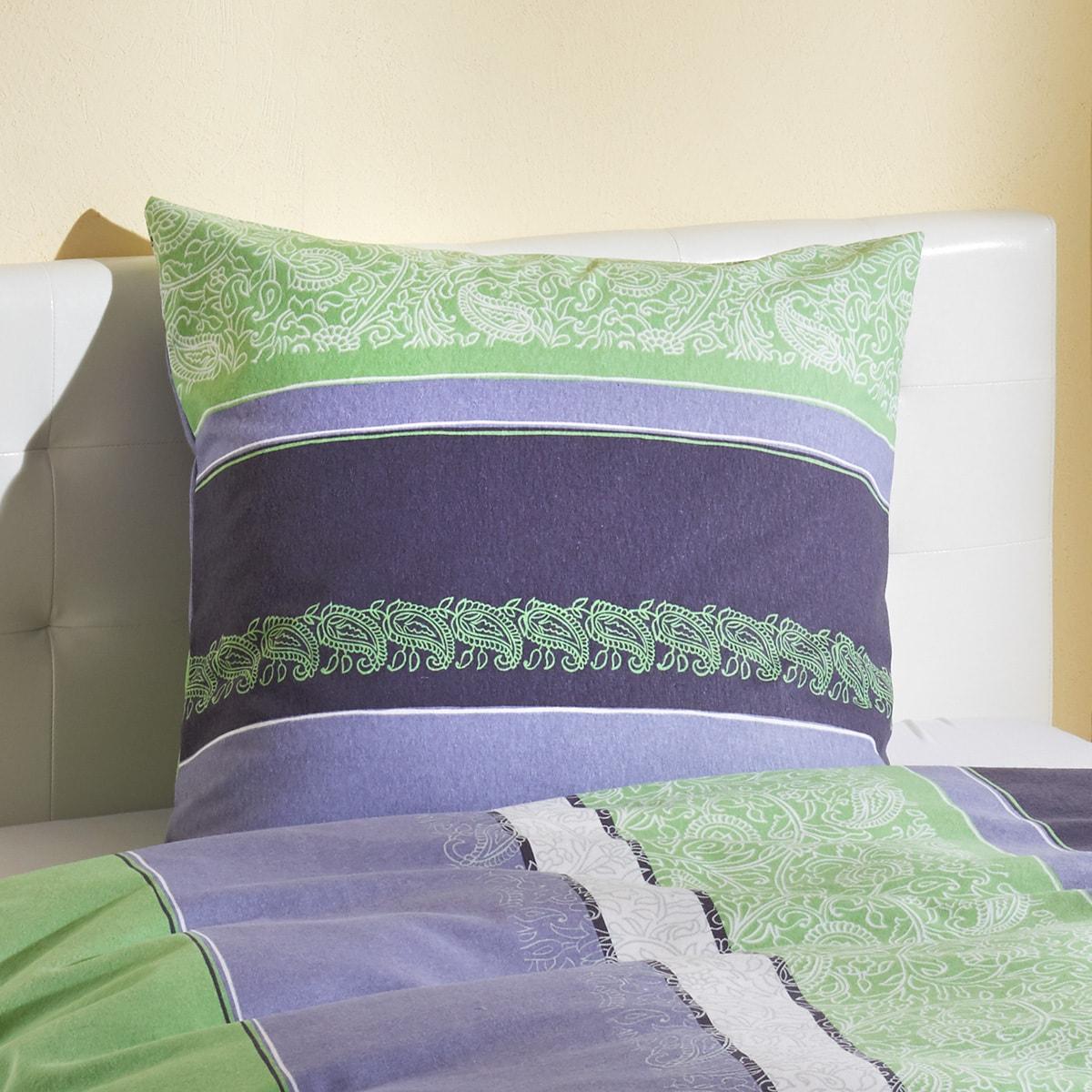 traumschlaf feinbiber bettw sche paisley gr n g nstig. Black Bedroom Furniture Sets. Home Design Ideas