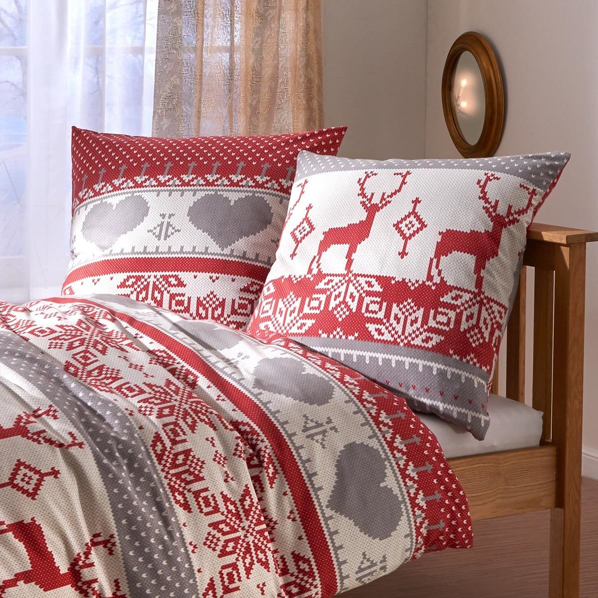 traumschlaf feinflanell bettw sche hirsch g nstig online. Black Bedroom Furniture Sets. Home Design Ideas