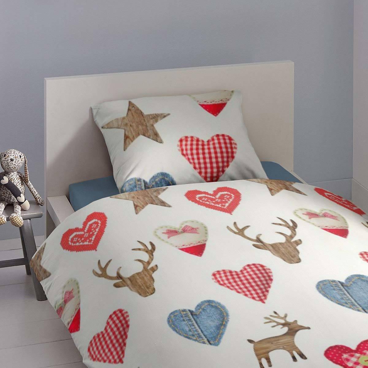 traumschlaf flanell bettw sche hirsche und herzen g nstig online kaufen bei bettwaren shop. Black Bedroom Furniture Sets. Home Design Ideas