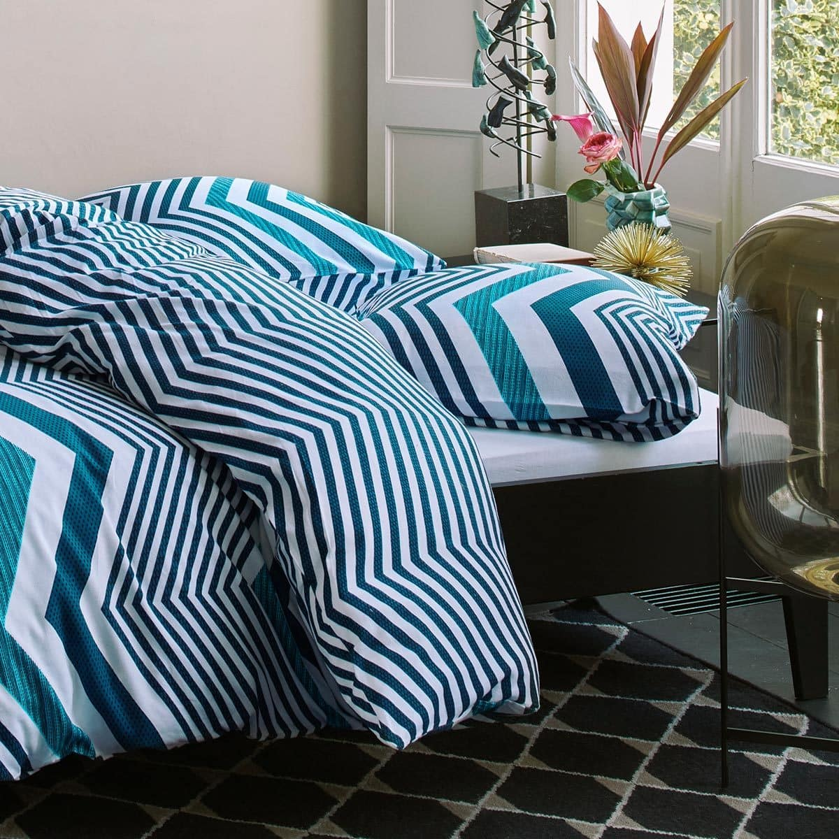 esprit flanell bettw sche ziggy zag aqua g nstig online kaufen bei bettwaren shop. Black Bedroom Furniture Sets. Home Design Ideas