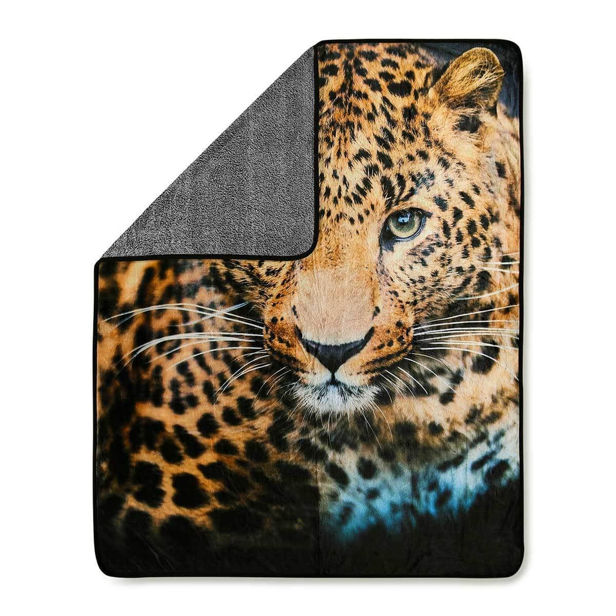 good morning fleecedecke wendeplaid leopard g nstig online kaufen bei bettwaren shop. Black Bedroom Furniture Sets. Home Design Ideas