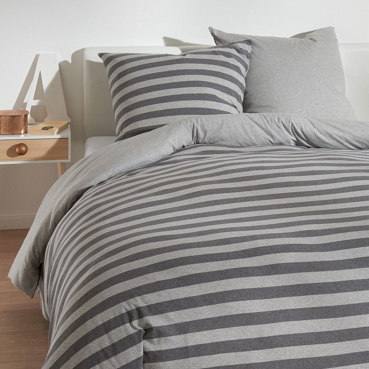 traumschlaf jersey melange wendebettw sche stripe grau g nstig online kaufen bei bettwaren shop. Black Bedroom Furniture Sets. Home Design Ideas