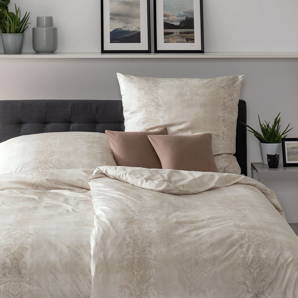 estella mako interlock jersey bettw sche elise creme. Black Bedroom Furniture Sets. Home Design Ideas