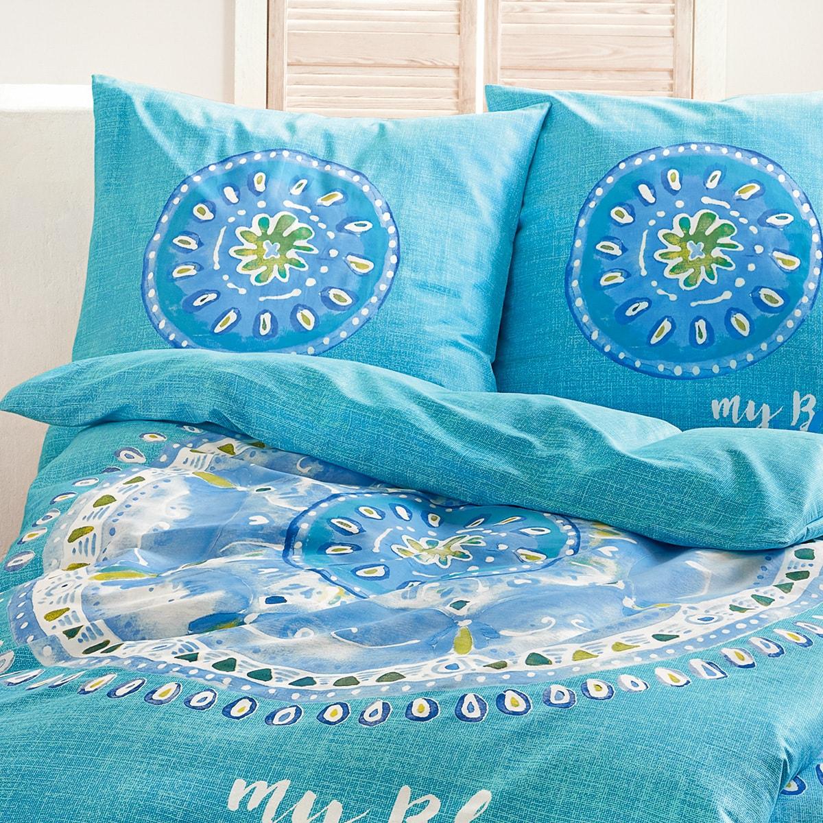living dreams mako satin bettw sche blue island g nstig online kaufen bei bettwaren shop. Black Bedroom Furniture Sets. Home Design Ideas